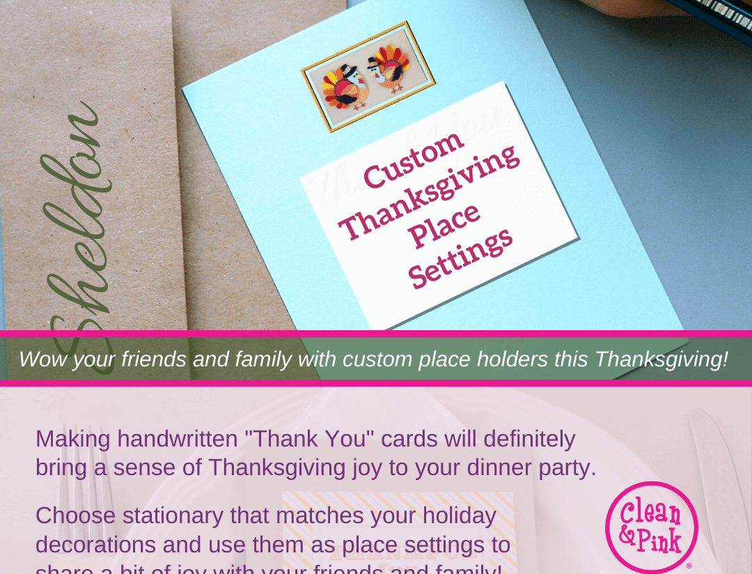 Thanksgiving place settings holiday tips Clean & Pink residential cleaning company memphis tn